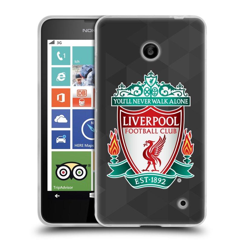 Silikonové pouzdro na mobil Nokia Lumia 630 HEAD CASE ZNAK LIVERPOOL FC OFFICIAL GEOMETRIC BLACK (Silikonový kryt či obal na mobilní telefon Liverpool FC Official pro Nokia Lumia 630 a Nokia Lumia 630 Dual SIM)