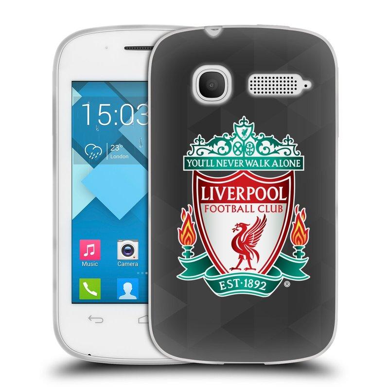 Silikonové pouzdro na mobil Alcatel One Touch Pop C1 HEAD CASE ZNAK LIVERPOOL FC OFFICIAL GEOMETRIC BLACK (Silikonový kryt či obal na mobilní telefon Liverpool FC Official pro Alcatel One Touch Pop C1)