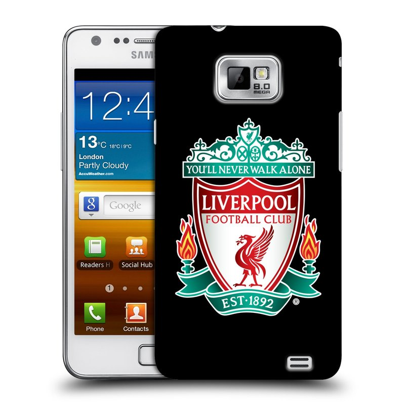 Plastové pouzdro na mobil Samsung Galaxy S II HEAD CASE ZNAK LIVERPOOL FC OFFICIAL BLACK (Kryt či obal na mobilní telefon Liverpool FC Official pro Samsung Galaxy S II GT-i9100)