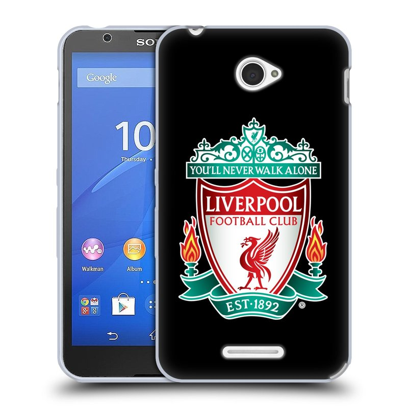 Silikonové pouzdro na mobil Sony Xperia E4 E2105 HEAD CASE ZNAK LIVERPOOL FC OFFICIAL BLACK (Silikonový kryt či obal na mobilní telefon Liverpool FC Official pro Sony Xperia E4 a E4 Dual SIM)