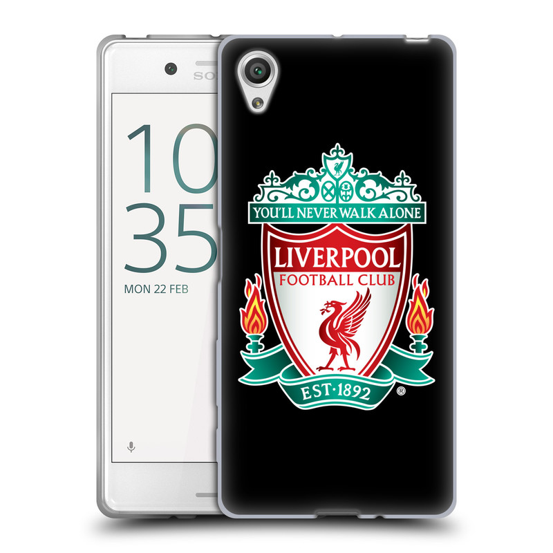 Silikonové pouzdro na mobil Sony Xperia X HEAD CASE ZNAK LIVERPOOL FC OFFICIAL BLACK (Silikonový kryt či obal na mobilní telefon Liverpool FC Official pro Sony Xperia X F5121 / Dual SIM F5122)