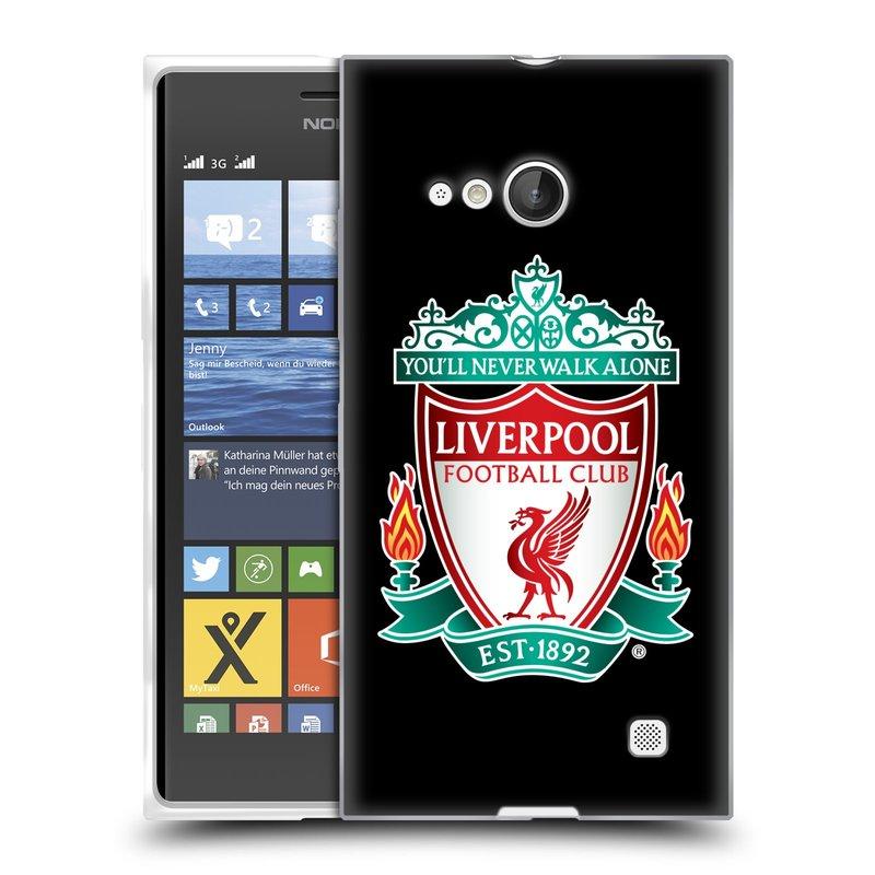 Silikonové pouzdro na mobil Nokia Lumia 730 Dual SIM HEAD CASE ZNAK LIVERPOOL FC OFFICIAL BLACK (Silikonový kryt či obal na mobilní telefon Liverpool FC Official pro Nokia Lumia 730 Dual SIM)
