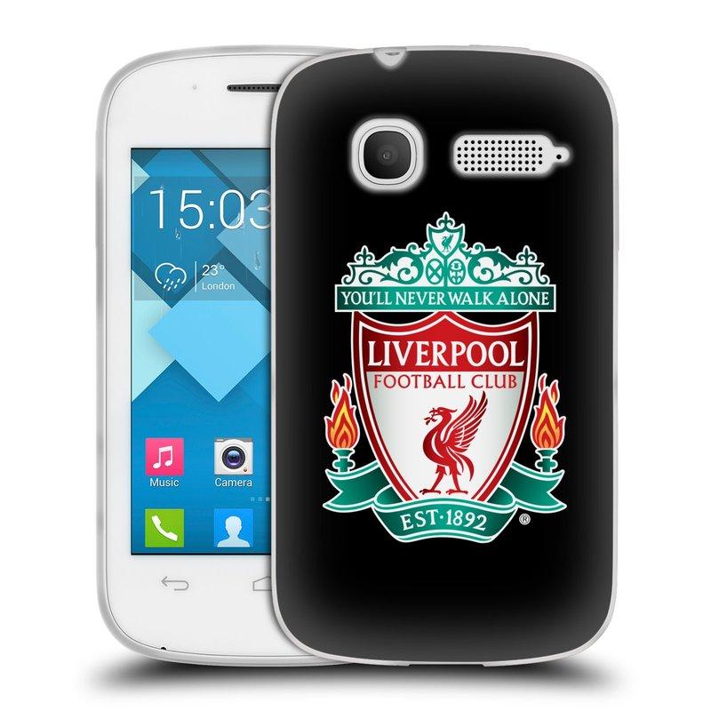 Silikonové pouzdro na mobil Alcatel One Touch Pop C1 HEAD CASE ZNAK LIVERPOOL FC OFFICIAL BLACK (Silikonový kryt či obal na mobilní telefon Liverpool FC Official pro Alcatel One Touch Pop C1)