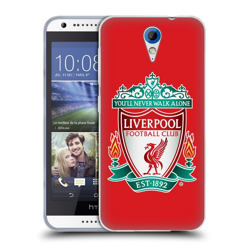Silikonové pouzdro na mobil HTC Desire 620 HEAD CASE ZNAK LIVERPOOL FC OFFICIAL RED (Silikonový kryt či obal na mobilní telefon Liverpool FC Official pro HTC Desire 620)