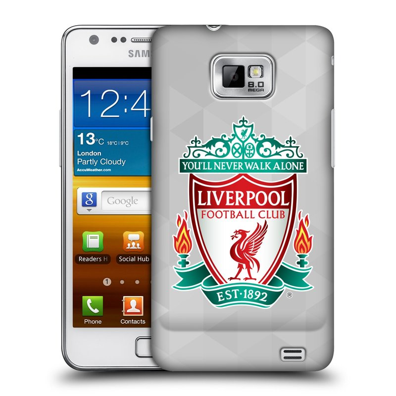 Plastové pouzdro na mobil Samsung Galaxy S II HEAD CASE ZNAK LIVERPOOL FC OFFICIAL GEOMETRIC WHITE (Kryt či obal na mobilní telefon Liverpool FC Official pro Samsung Galaxy S II GT-i9100)