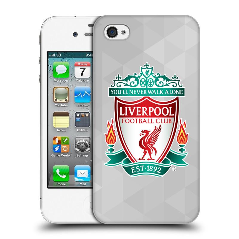 Plastové pouzdro na mobil Apple iPhone 4 a 4S HEAD CASE ZNAK LIVERPOOL FC OFFICIAL GEOMETRIC WHITE (Kryt či obal na mobilní telefon Liverpool FC Official pro Apple iPhone 4 a 4S)