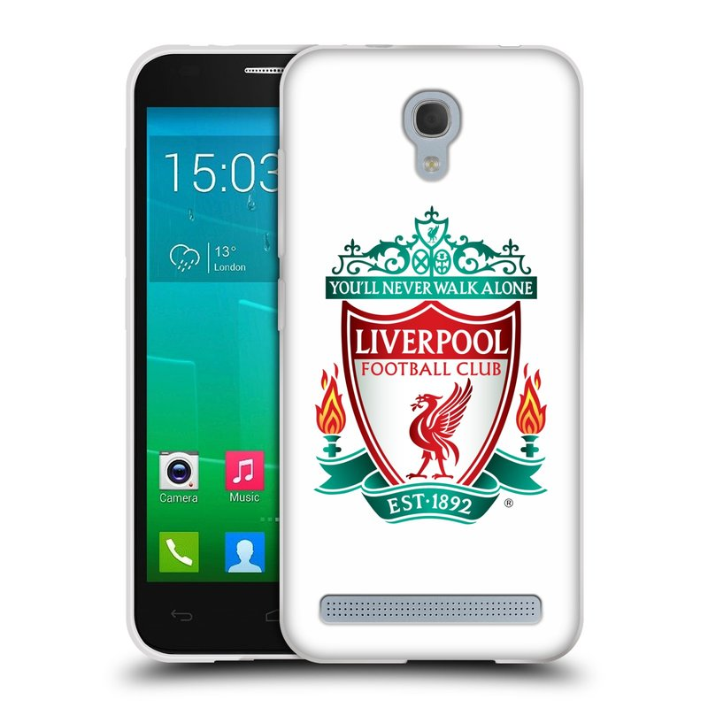 Silikonové pouzdro na mobil Alcatel One Touch Idol 2 Mini S 6036Y HEAD CASE ZNAK LIVERPOOL FC OFFICIAL WHITE (Silikonový kryt či obal na mobilní telefon Liverpool FC Official pro Alcatel Idol 2 Mini S OT-6036Y)