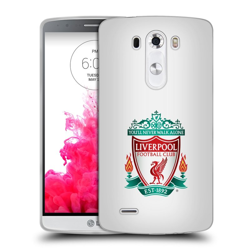 Silikonové pouzdro na mobil LG G3 HEAD CASE ZNAK LIVERPOOL FC OFFICIAL WHITE (Silikonový kryt či obal na mobilní telefon Liverpool FC Official pro LG G3)