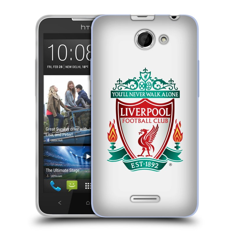Silikonové pouzdro na mobil HTC Desire 516 HEAD CASE ZNAK LIVERPOOL FC OFFICIAL WHITE (Silikonový kryt či obal na mobilní telefon Liverpool FC Official pro HTC Desire 516 Dual SIM)