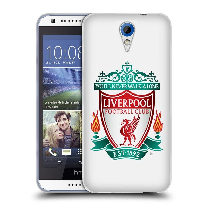 Silikonové pouzdro na mobil HTC Desire 620 HEAD CASE ZNAK LIVERPOOL FC OFFICIAL WHITE (Silikonový kryt či obal na mobilní telefon Liverpool FC Official pro HTC Desire 620)