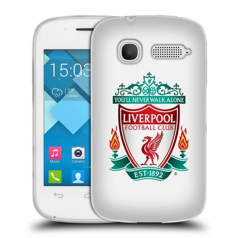 Silikonové pouzdro na mobil Alcatel One Touch Pop C1 HEAD CASE ZNAK LIVERPOOL FC OFFICIAL WHITE (Silikonový kryt či obal na mobilní telefon Liverpool FC Official pro Alcatel One Touch Pop C1)