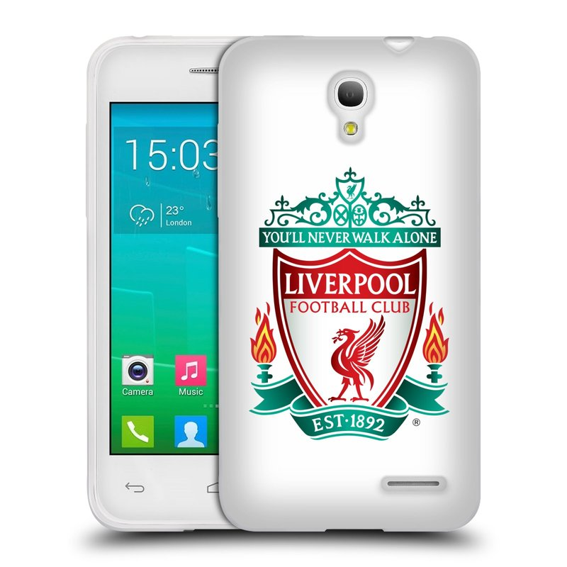 Silikonové pouzdro na mobil Alcatel One Touch Pop S3 HEAD CASE ZNAK LIVERPOOL FC OFFICIAL WHITE (Silikonový kryt či obal na mobilní telefon Liverpool FC Official pro Alcatel One Touch Pop S3)