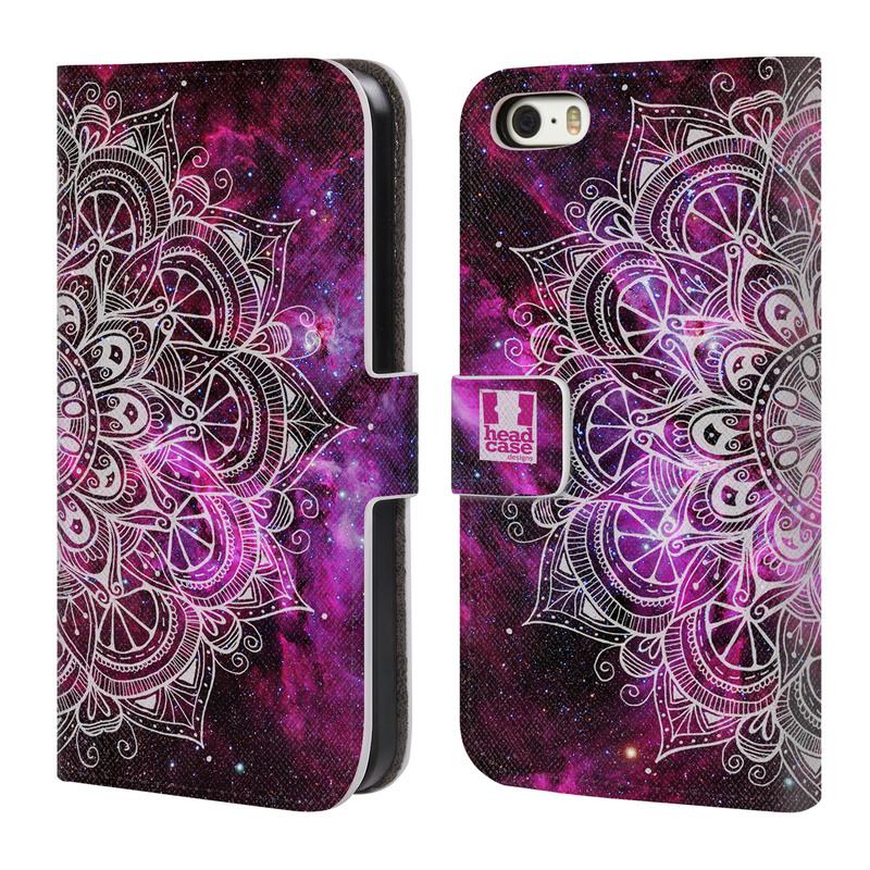 Flipové pouzdro na mobil Apple iPhone SE, 5 a 5S HEAD CASE Mandala Doodle Nebula (Flipový vyklápěcí kryt či obal z umělé kůže na mobilní telefon Apple iPhone 5 a 5S)