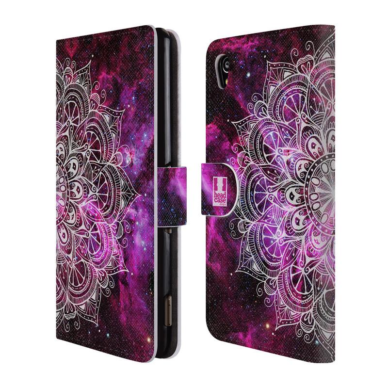 Flipové pouzdro na mobil Sony Xperia M4 Aqua HEAD CASE Mandala Doodle Nebula (Flipový vyklápěcí kryt či obal z umělé kůže na mobilní telefon Sony Xperia M4 Aqua E2303)