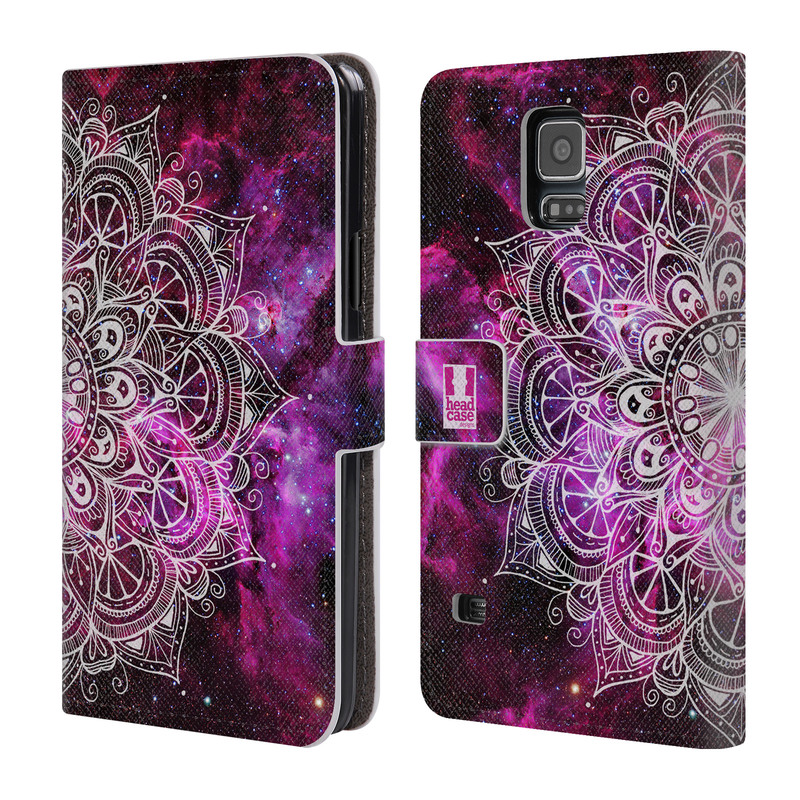 Flipové pouzdro na mobil Samsung Galaxy S5 HEAD CASE Mandala Doodle Nebula (Flipový vyklápěcí kryt či obal z umělé kůže na mobilní telefon Samsung Galaxy S5 SM-G900)