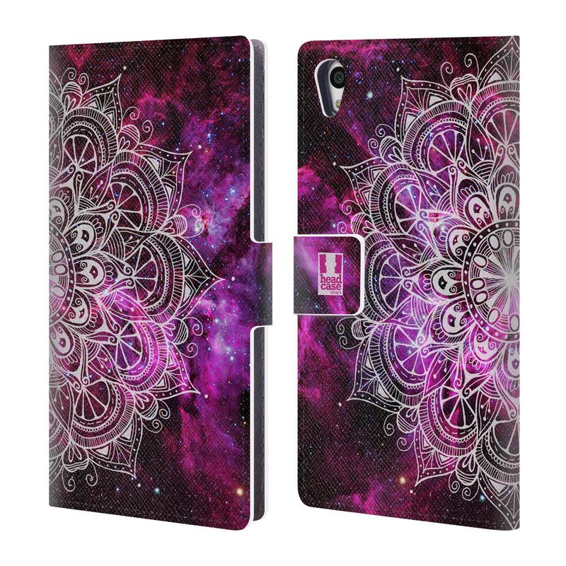 Flipové pouzdro na mobil Sony Xperia Z5 HEAD CASE Mandala Doodle Nebula (Flipový vyklápěcí kryt či obal z umělé kůže na mobilní telefon Sony Xperia Z5)