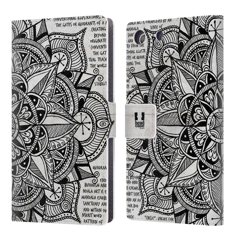 Flipové pouzdro na mobil Sony Xperia M5 HEAD CASE Mandala Doodle Paper (Flipový vyklápěcí kryt či obal z umělé kůže na mobilní telefon Sony Xperia M5 Aqua E5603)