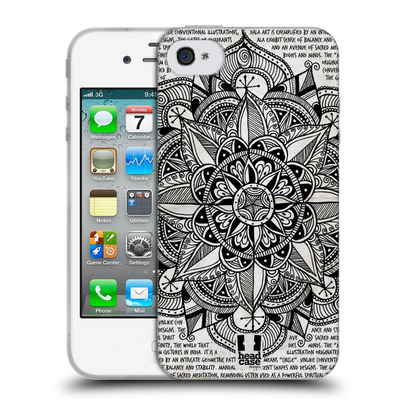Silikonové pouzdro na mobil Apple iPhone 4 a 4S HEAD CASE Mandala Doodle Paper (Silikonový kryt či obal na mobilní telefon Apple iPhone 4 a 4S)