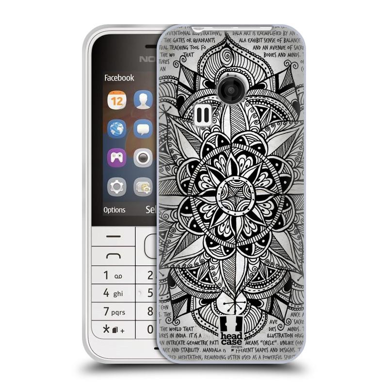 Silikonové pouzdro na mobil Nokia 220 HEAD CASE Mandala Doodle Paper (Silikonový kryt či obal na mobilní telefon Nokia 220 a 220 Dual SIM)