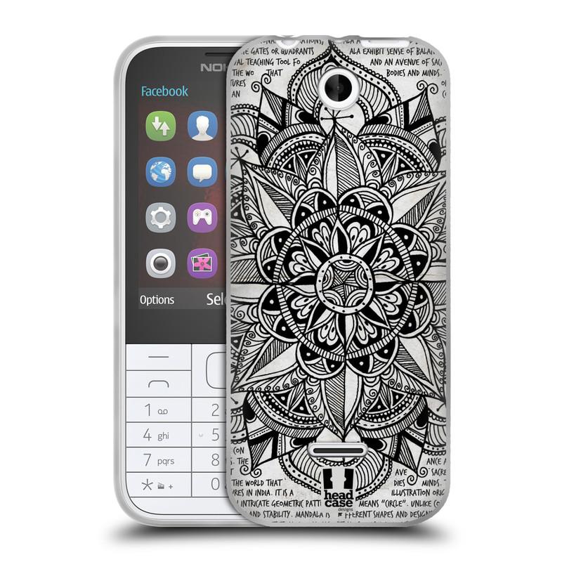 Silikonové pouzdro na mobil Nokia 225 HEAD CASE Mandala Doodle Paper (Silikonový kryt či obal na mobilní telefon Nokia 225)
