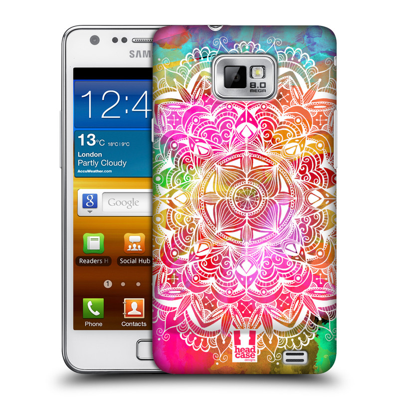 Plastové pouzdro na mobil Samsung Galaxy S II HEAD CASE Mandala Doodle Watercolour (Kryt či obal na mobilní telefon Samsung Galaxy S II GT-i9100)