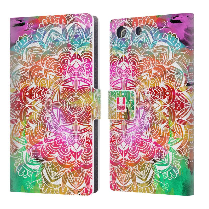 Flipové pouzdro na mobil Sony Xperia M5 HEAD CASE Mandala Doodle Watercolour (Flipový vyklápěcí kryt či obal z umělé kůže na mobilní telefon Sony Xperia M5 Aqua E5603)