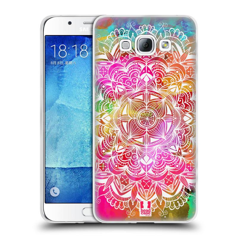 Silikonové pouzdro na mobil Samsung Galaxy A8 HEAD CASE Mandala Doodle Watercolour (Silikonový kryt či obal na mobilní telefon Samsung Galaxy A8 SM-A800)