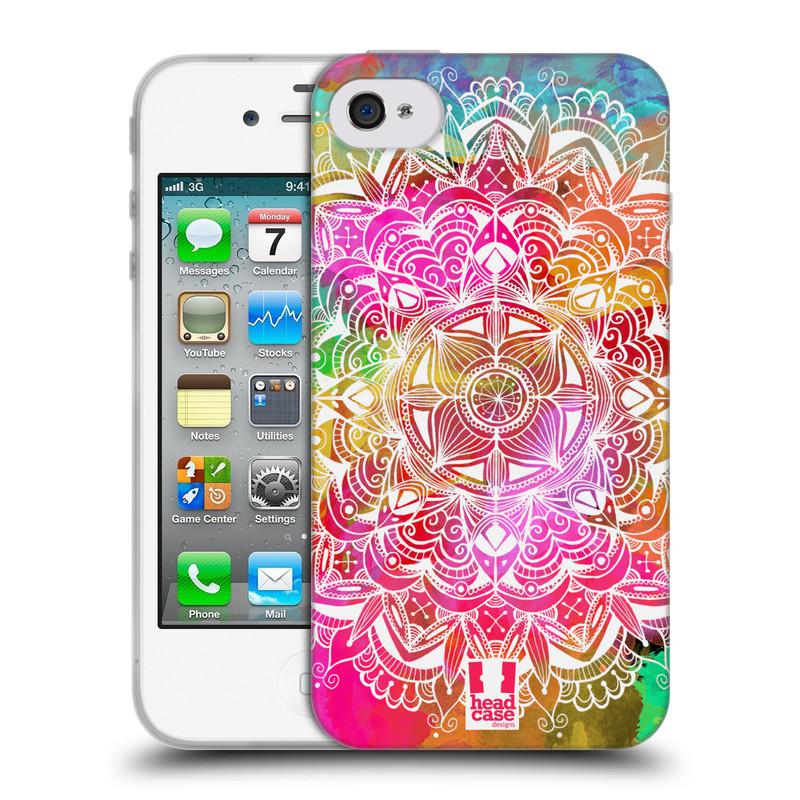 Silikonové pouzdro na mobil Apple iPhone 4 a 4S HEAD CASE Mandala Doodle Watercolour (Silikonový kryt či obal na mobilní telefon Apple iPhone 4 a 4S)