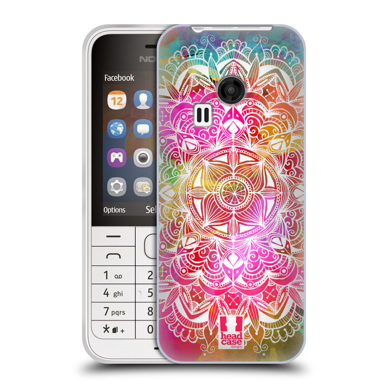 Silikonové pouzdro na mobil Nokia 220 HEAD CASE Mandala Doodle Watercolour (Silikonový kryt či obal na mobilní telefon Nokia 220 a 220 Dual SIM)