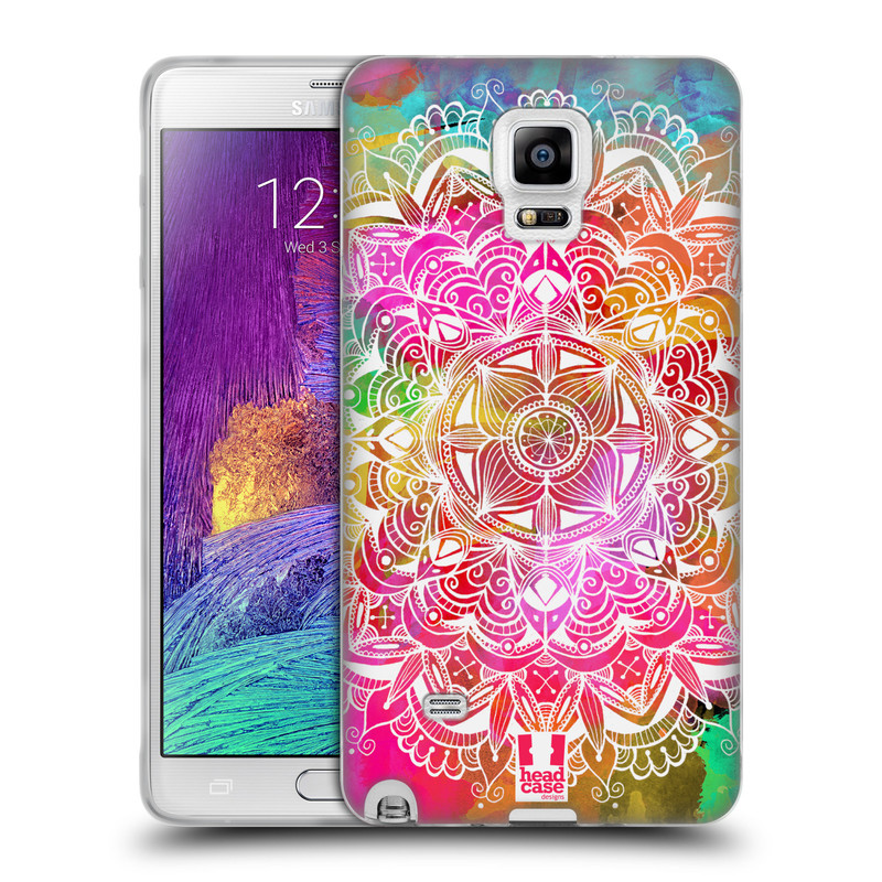 Silikonové pouzdro na mobil Samsung Galaxy Note 4 HEAD CASE Mandala Doodle Watercolour (Silikonový kryt či obal na mobilní telefon Samsung Galaxy Note 4 SM-N910F)