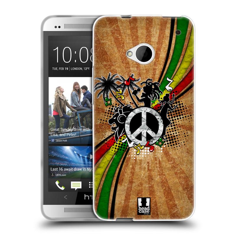 Silikonové pouzdro na mobil HTC ONE M7 HEAD CASE REGGAE (Silikonový kryt či obal na mobilní telefon HTC ONE M7)