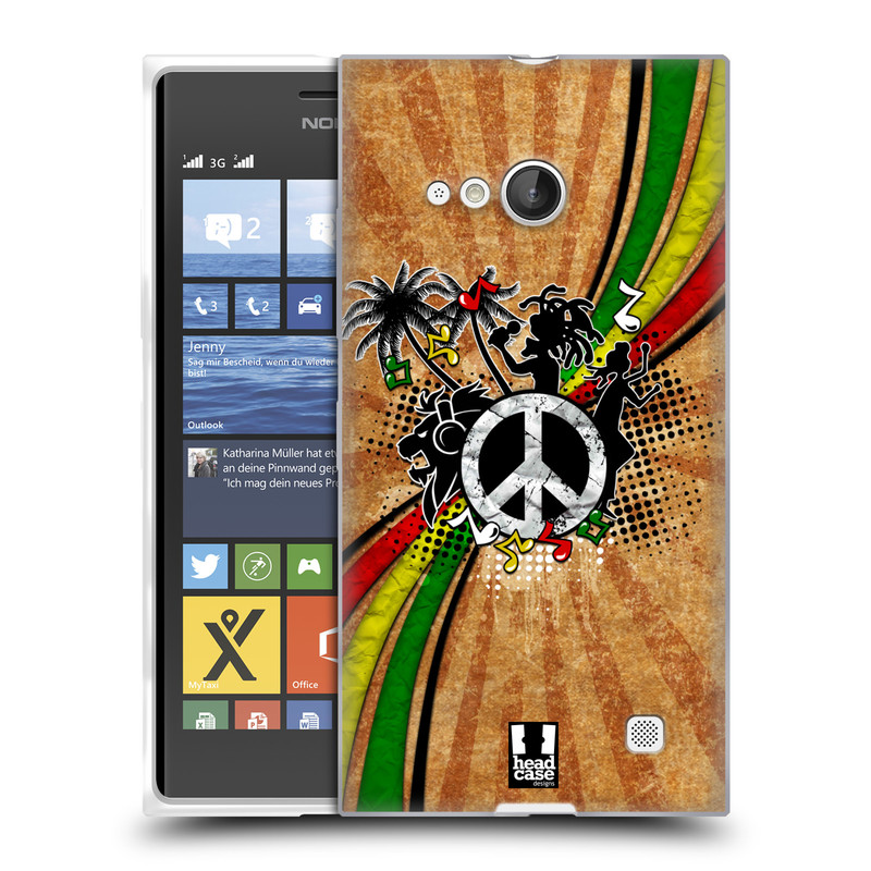 Silikonové pouzdro na mobil Nokia Lumia 735 HEAD CASE REGGAE (Silikonový kryt či obal na mobilní telefon Nokia Lumia 735)