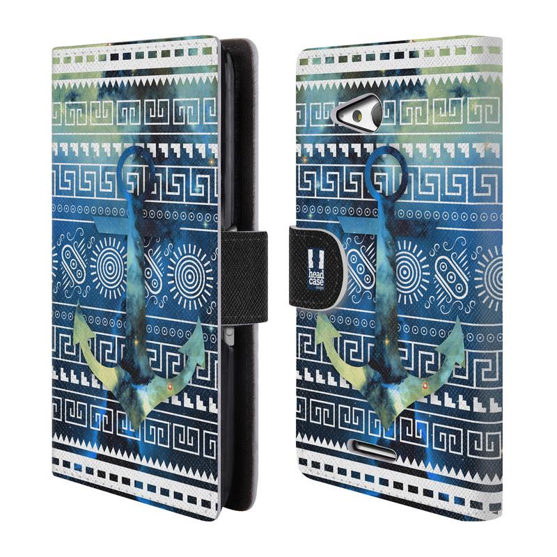 Flipové pouzdro na mobil Sony Xperia E4g HEAD CASE NEBULA KOTVA (Flipový vyklápěcí kryt či obal z umělé kůže na mobilní telefon Sony Xperia E4G E2003)