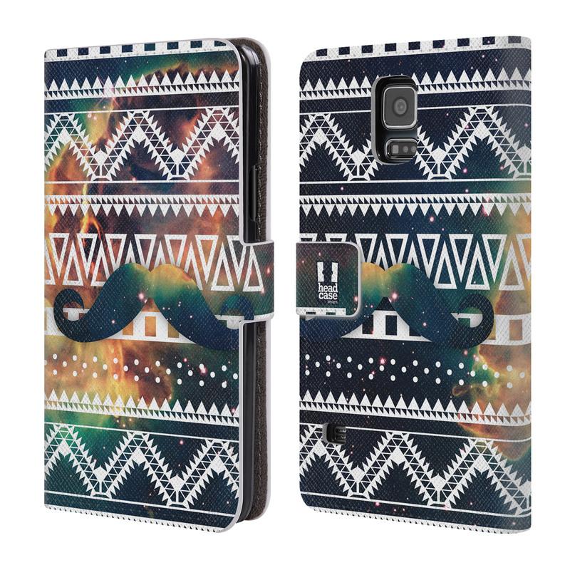 Flipové pouzdro na mobil Samsung Galaxy S5 HEAD CASE AZTEC KNÍR (Flipový vyklápěcí kryt či obal z umělé kůže na mobilní telefon Samsung Galaxy S5 SM-G900)