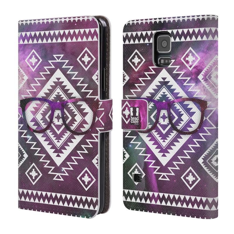 Flipové pouzdro na mobil Samsung Galaxy S5 HEAD CASE NEBULA BRÝLE (Flipový vyklápěcí kryt či obal z umělé kůže na mobilní telefon Samsung Galaxy S5 SM-G900)