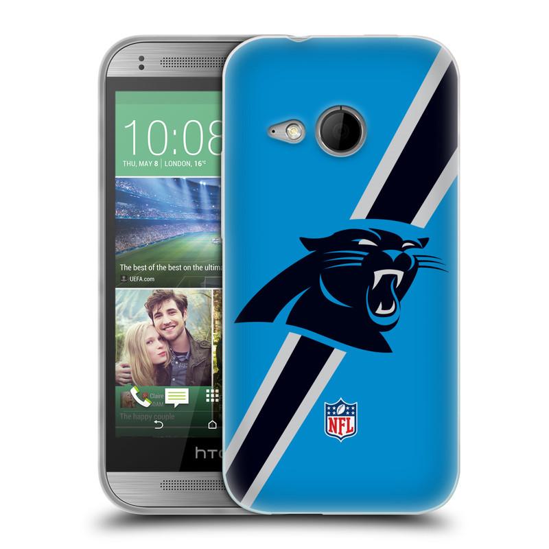 Silikonové pouzdro na mobil HTC ONE Mini 2 HEAD CASE NFL - Carolina Panthers (Silikonový kryt či obal na mobilní telefon licencovaným motivem NFL pro HTC ONE Mini 2)