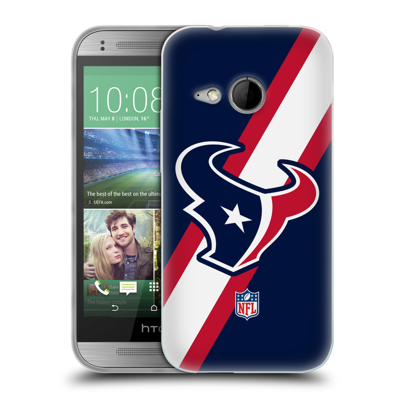 Silikonové pouzdro na mobil HTC ONE Mini 2 HEAD CASE NFL - Houston Texans (Silikonový kryt či obal na mobilní telefon licencovaným motivem NFL pro HTC ONE Mini 2)