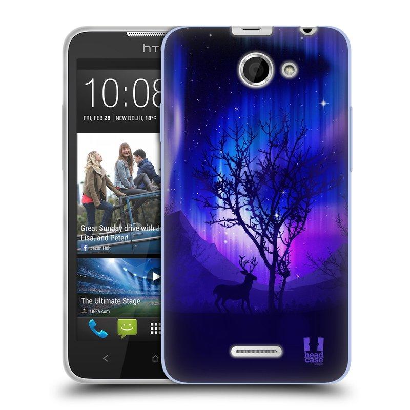 Silikonové pouzdro na mobil HTC Desire 516 HEAD CASE Polární Záře Strom (Silikonový kryt či obal na mobilní telefon HTC Desire 516 Dual SIM)