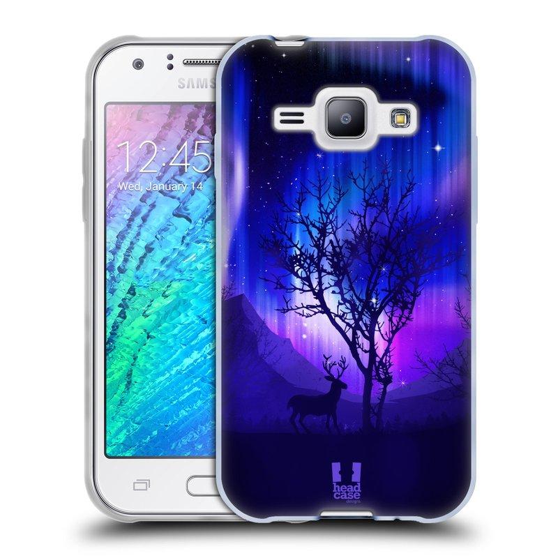 Silikonové pouzdro na mobil Samsung Galaxy J1 HEAD CASE Polární Záře Strom (Silikonový kryt či obal na mobilní telefon Samsung Galaxy J1 a J1 Duos)