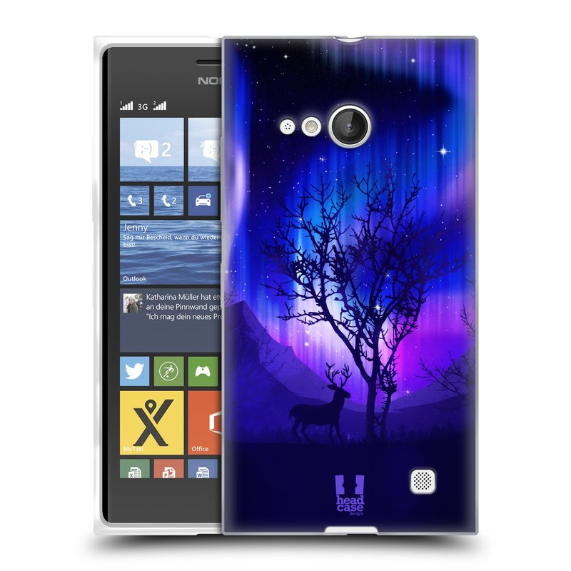 Silikonové pouzdro na mobil Nokia Lumia 730 Dual SIM HEAD CASE Polární Záře Strom (Silikonový kryt či obal na mobilní telefon Nokia Lumia 730 Dual SIM)