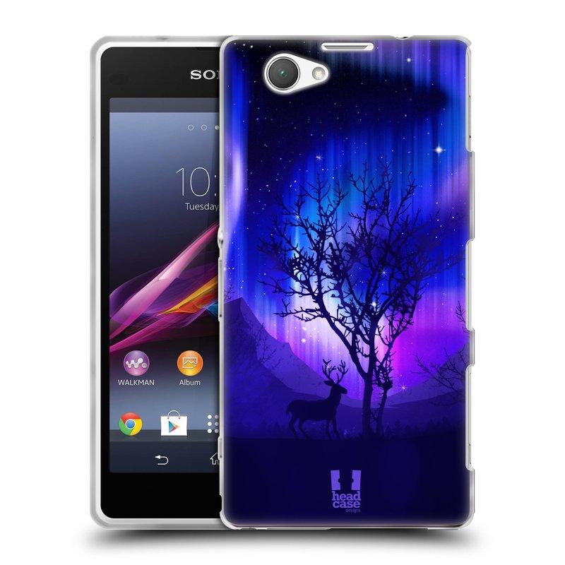Silikonové pouzdro na mobil Sony Xperia Z1 Compact D5503 HEAD CASE Polární Záře Strom (Silikonový kryt či obal na mobilní telefon Sony Xperia Z1 Compact)