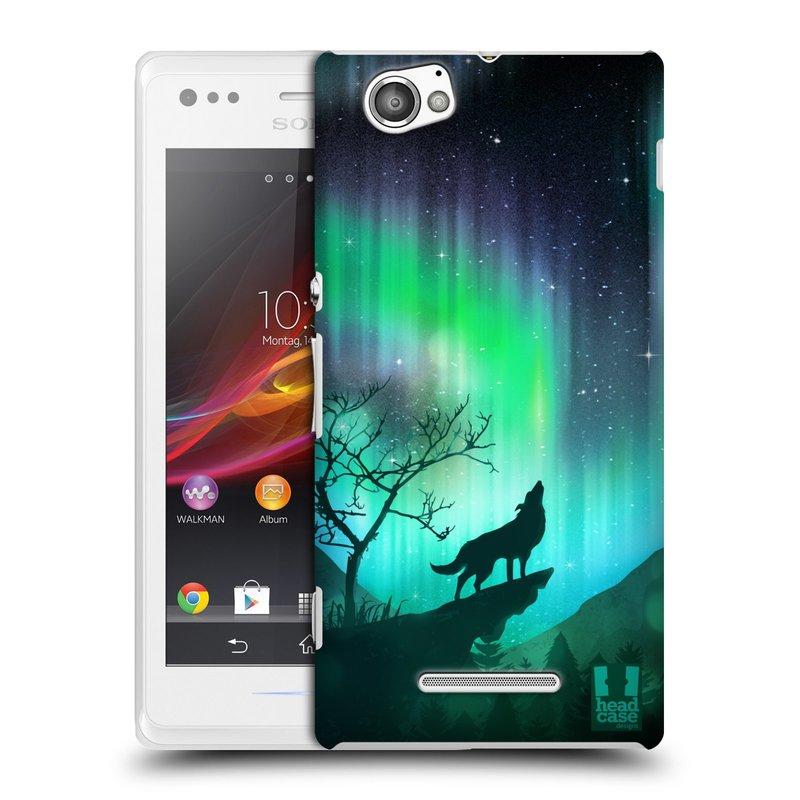 Plastové pouzdro na mobil Sony Xperia M C1905 HEAD CASE Polární Záře Vlk (Kryt či obal na mobilní telefon Sony Xperia M )