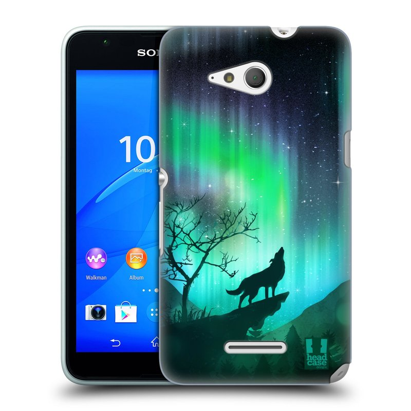 Plastové pouzdro na mobil Sony Xperia E4g E2003 HEAD CASE Polární Záře Vlk (Kryt či obal na mobilní telefon Sony Xperia E4g a E4g Dual SIM)