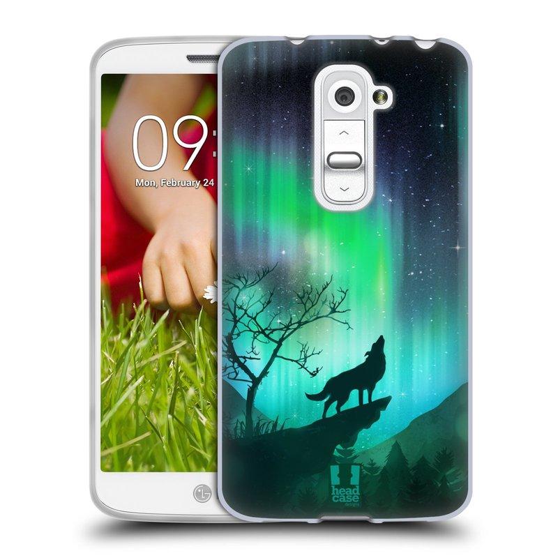 Silikonové pouzdro na mobil LG G2 Mini HEAD CASE Polární Záře Vlk (Silikonový kryt či obal na mobilní telefon LG G2 Mini D620)