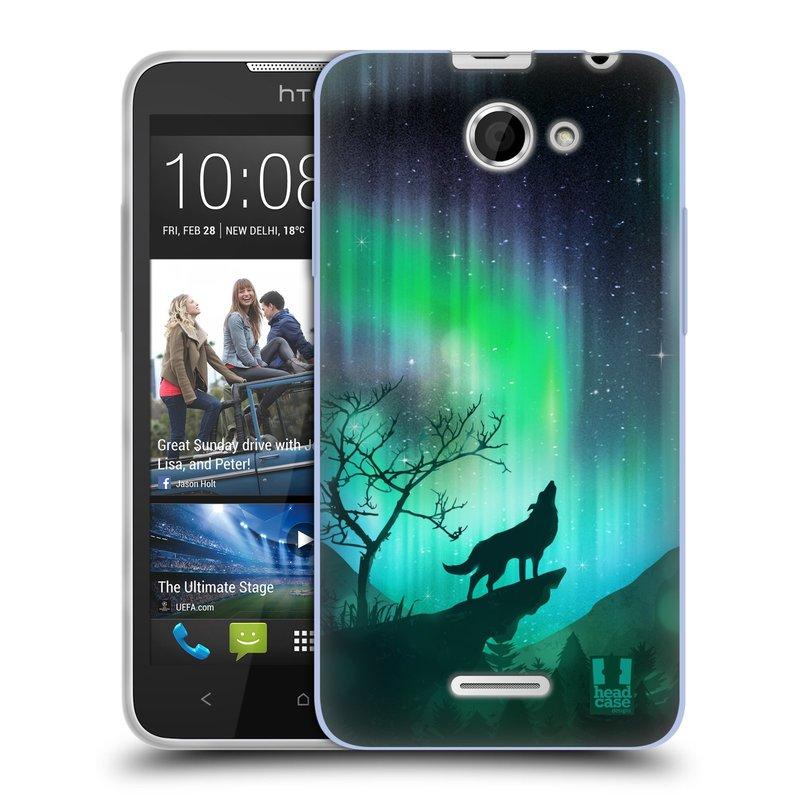 Silikonové pouzdro na mobil HTC Desire 516 HEAD CASE Polární Záře Vlk (Silikonový kryt či obal na mobilní telefon HTC Desire 516 Dual SIM)