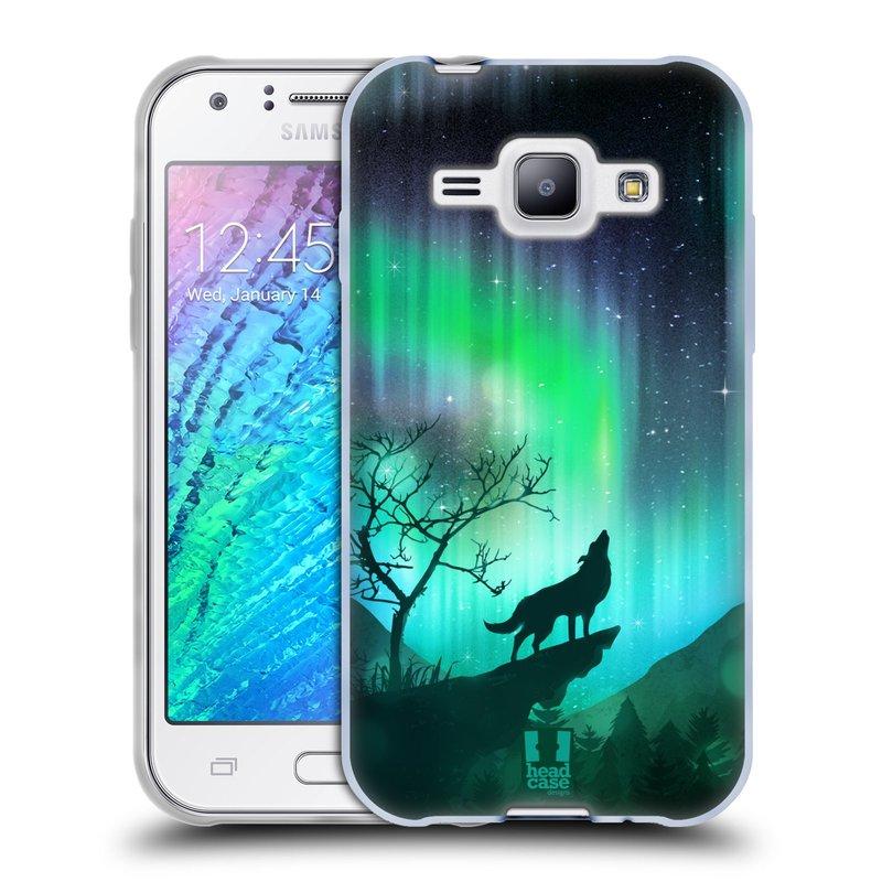 Silikonové pouzdro na mobil Samsung Galaxy J1 HEAD CASE Polární Záře Vlk (Silikonový kryt či obal na mobilní telefon Samsung Galaxy J1 a J1 Duos)