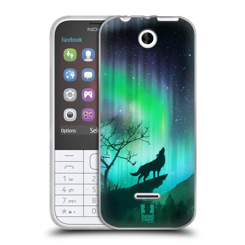 Silikonové pouzdro na mobil Nokia 225 HEAD CASE Polární Záře Vlk (Silikonový kryt či obal na mobilní telefon Nokia 225)