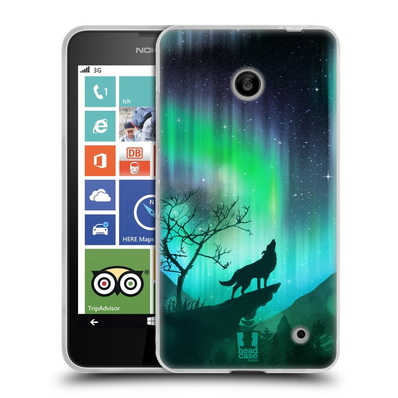 Silikonové pouzdro na mobil Nokia Lumia 630 HEAD CASE Polární Záře Vlk (Silikonový kryt či obal na mobilní telefon Nokia Lumia 630 a Nokia Lumia 630 Dual SIM)