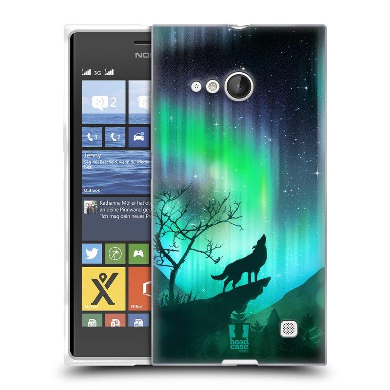 Silikonové pouzdro na mobil Nokia Lumia 730 Dual SIM HEAD CASE Polární Záře Vlk (Silikonový kryt či obal na mobilní telefon Nokia Lumia 730 Dual SIM)