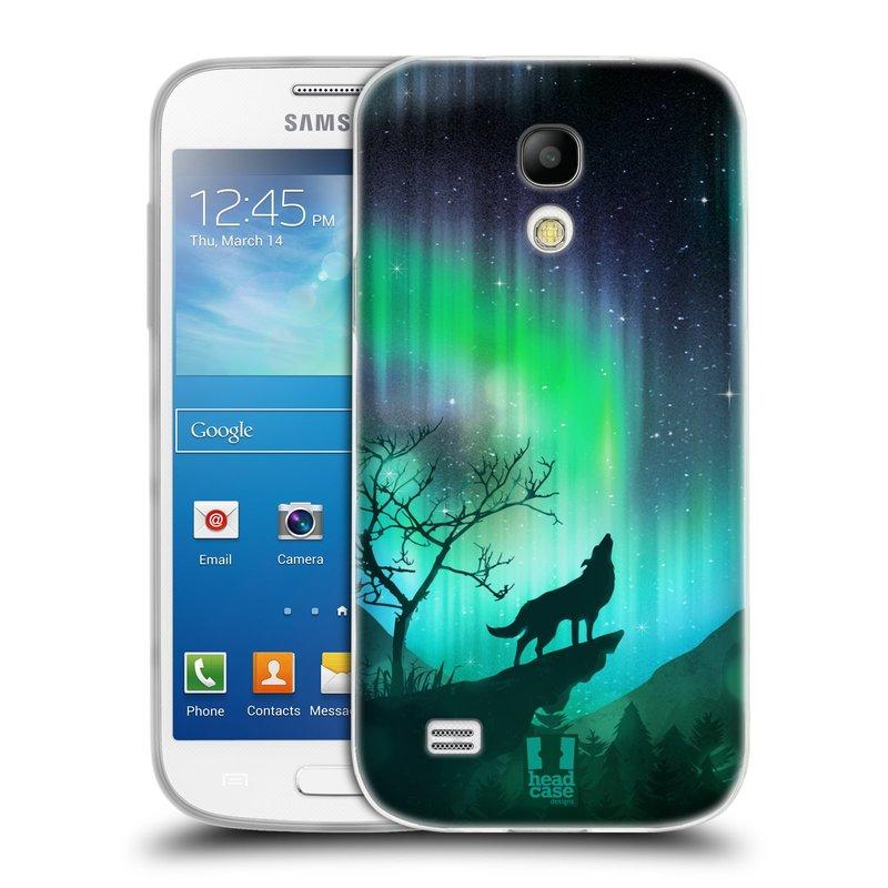 Silikonové pouzdro na mobil Samsung Galaxy S4 Mini HEAD CASE Polární Záře Vlk (Silikonový kryt či obal na mobilní telefon Samsung Galaxy S4 Mini GT-i9195 / i9190)